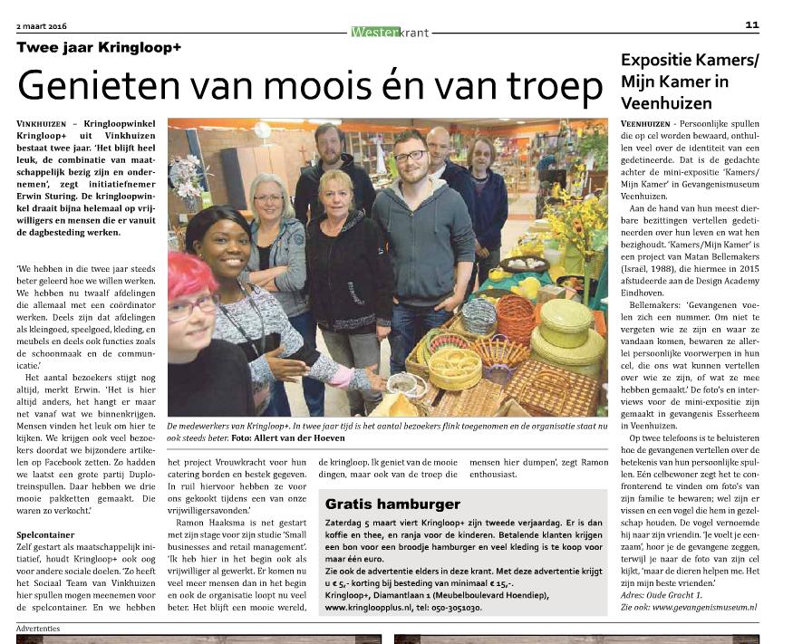 Krant artikel | Kringloopplus kringloop kringloopwinkel kringloopdag kringloop+